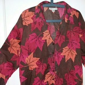 Autumn leaves Coldwater creek blouse, 2X, 20W-22W